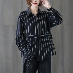 寬鬆百搭條紋抽繩收腰長版襯衫-F(共三色)-Keer