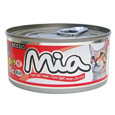 Seeds 聖萊西-Mia機能貓餐罐-鮪魚+白身鮪魚+蝦肉(160gX48罐)