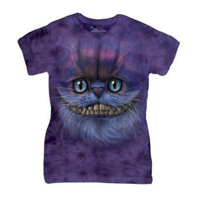 摩達客-美國進口The Mountain 笑笑柴郡貓臉 短袖女版T恤