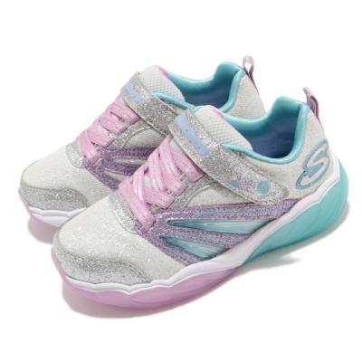 Skechers 休閒鞋 S Lights Fusion 燈鞋 童鞋 輕量 避震 緩衝 發光 魔鬼氈 中童 銀 紫 302043LSLLV