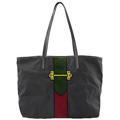 PRADA毛茸LOGO彩條造型托特包(黑/綠)