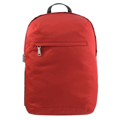 PRADA LOGO素面尼龍拉鍊後背包(紅)