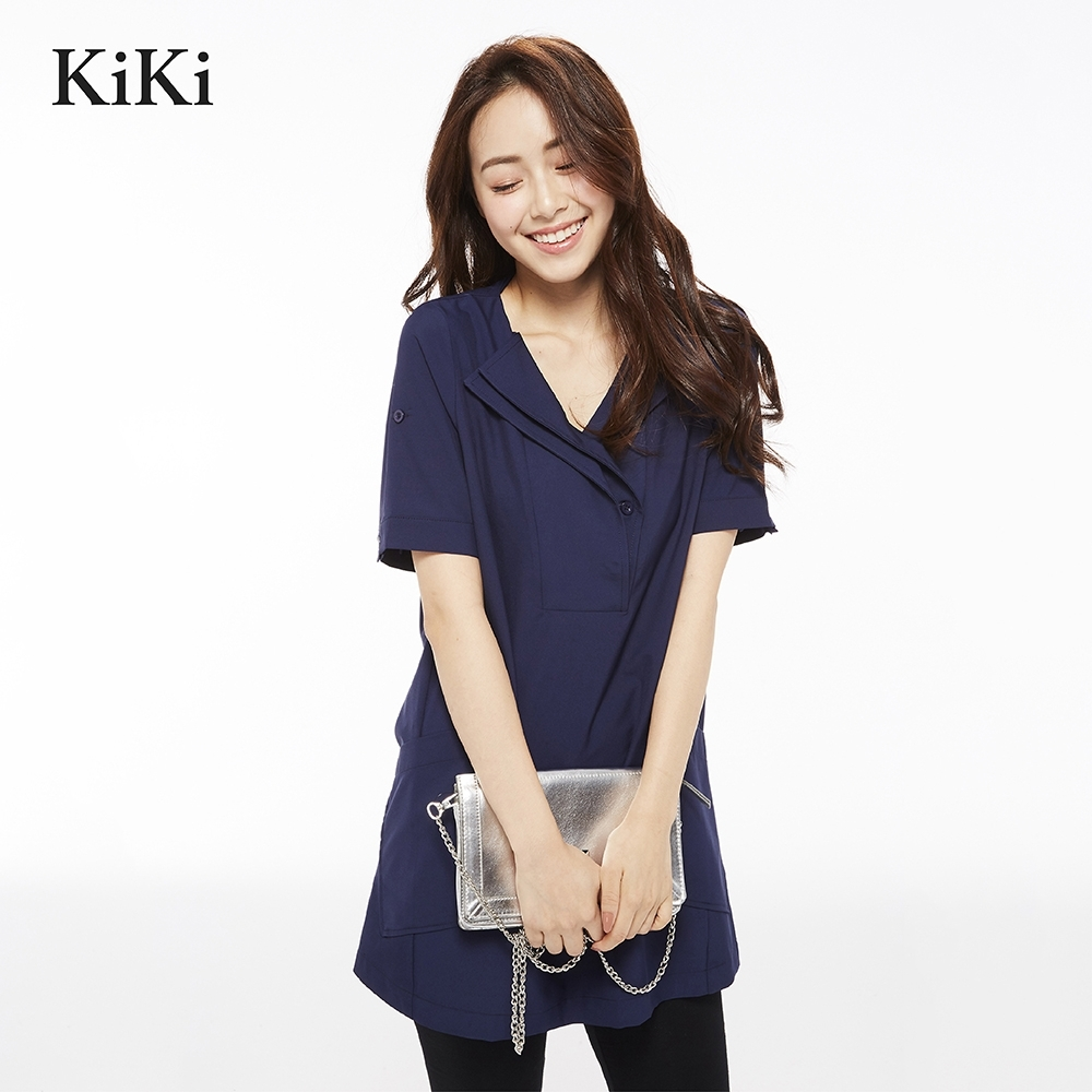 【KiKi】上班族質感五分袖-襯衫(二色).