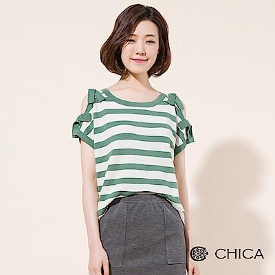 CHICA 春日甜心挖肩綁帶條紋針織衫(2色)