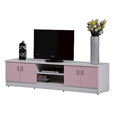 文創集 蘿倫環保6.1尺塑鋼四門電視櫃/視聽櫃(七色)-182x48x48cm-免組