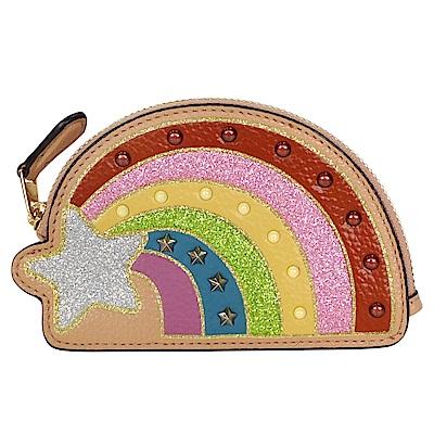 COACH亮粉流星鉚釘彩虹造型全皮零錢包