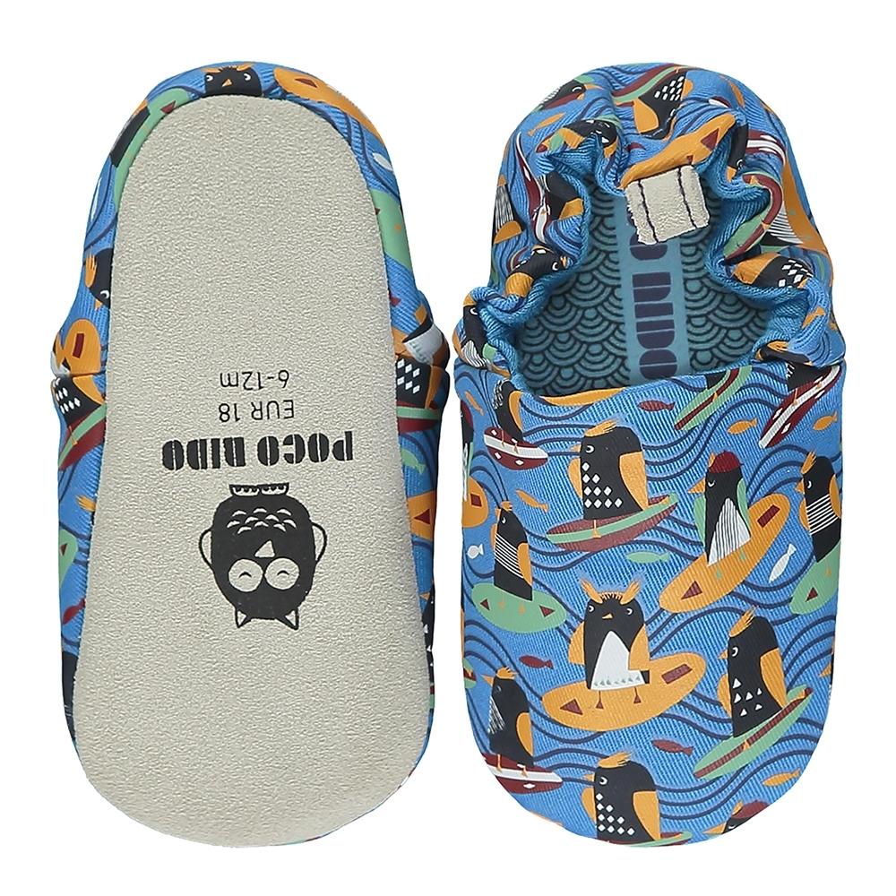 英國 POCO NIDO 手工嬰兒鞋 (衝浪企鵝 - 海洋藍)【2021新款】