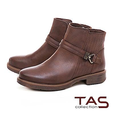 TAS復古擦色銅釦皮帶粗跟短靴–中性咖