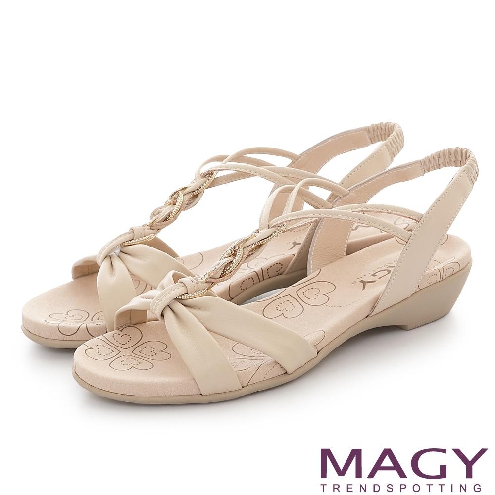 MAGY 圓形鑽飾牛皮編織平底 女 涼鞋 裸色