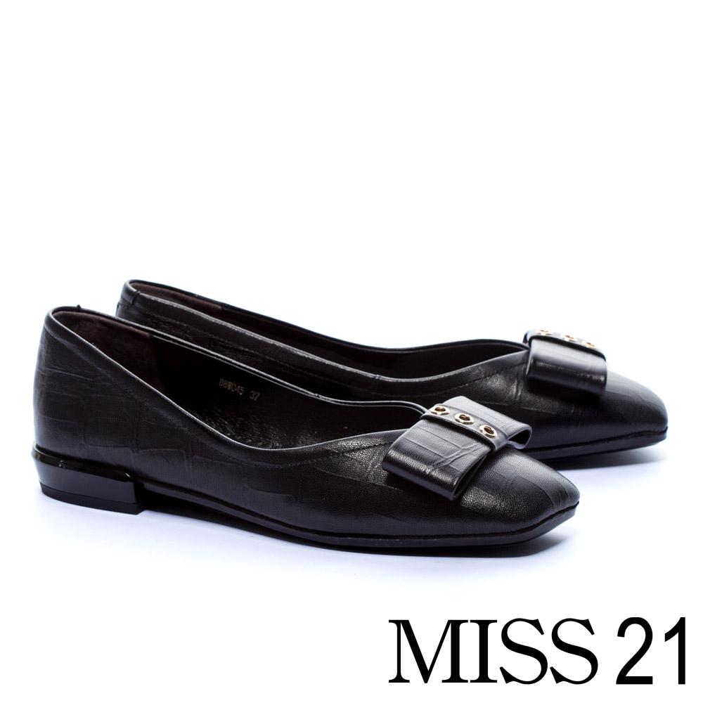 低跟鞋 MISS 21 復古壓紋蝴蝶結造型全真皮低跟鞋-黑