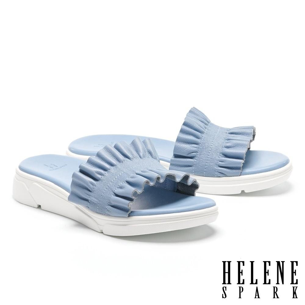 拖鞋 HELENE SPARK 清新浪漫抓皺牛皮厚底拖鞋-藍