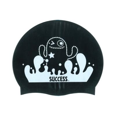 泳帽 成功SUCCESS 超彈性兒童矽膠泳帽S666 -黑