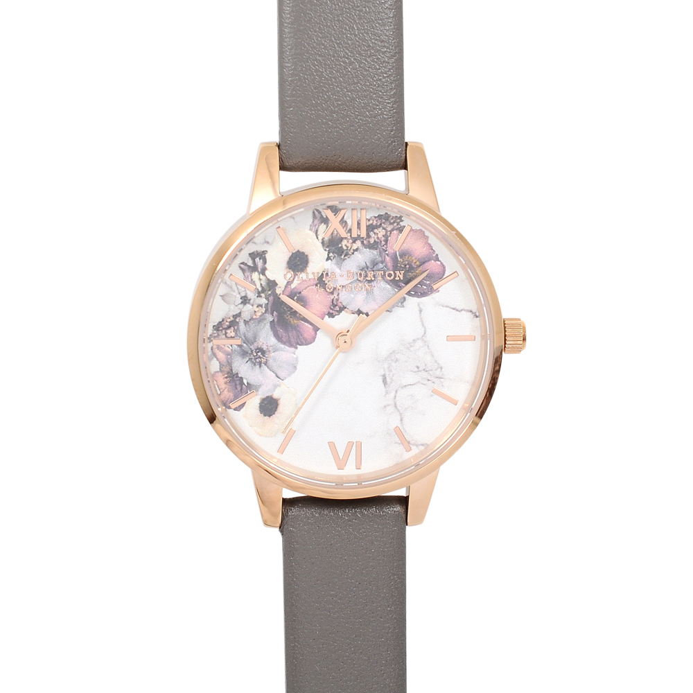 Olivia Burton 英倫復古手錶 大理石花卉紋路 灰色真皮錶帶玫瑰金框30mm
