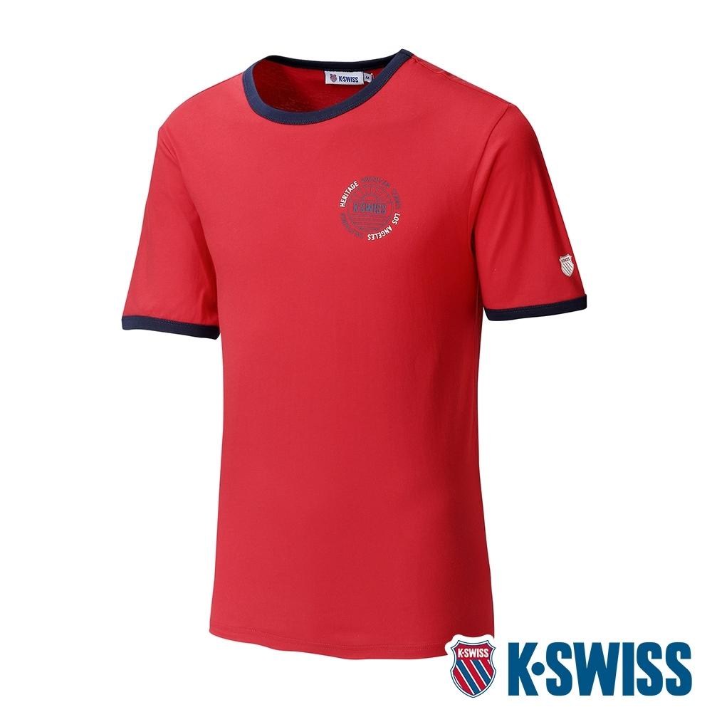 K-SWISS Crew Neck Binding Tee棉質吸排T恤-男-紅