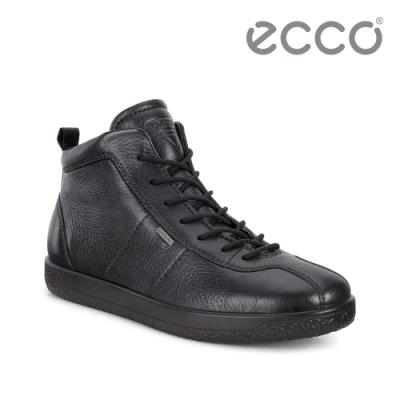 ECCO SOFT 1 W 防水高筒休閒鞋 女鞋-黑色