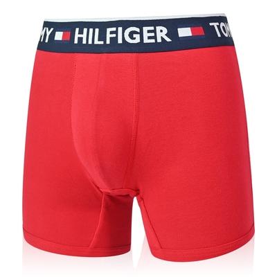 Tommy Hilfiger Bold Cotton 男內褲 棉質高彈性合身平口褲/Tommy四角褲-藍帶紅
