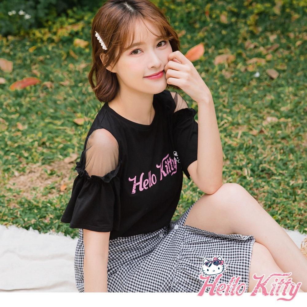 夏日系列Kitty高含棉印圖網紗拼接荷葉袖上衣-OB嚴選