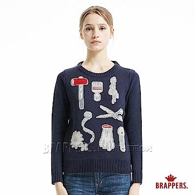 BRAPPERS 女款 緹花趣味圖騰長袖毛衣-藍