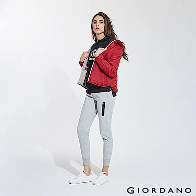GIORDANO 女裝雙面空氣層運動口袋休閒束口褲-14 中花灰