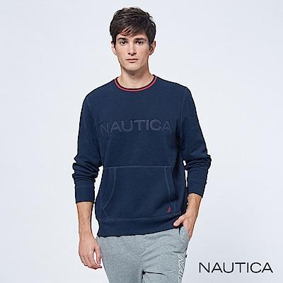 Nautica經典款品牌休閒口袋長袖TEE-深藍