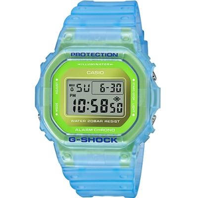 CASIO卡西歐 G-SHOCK 水藍半透明運動錶 DW-5600LS-2