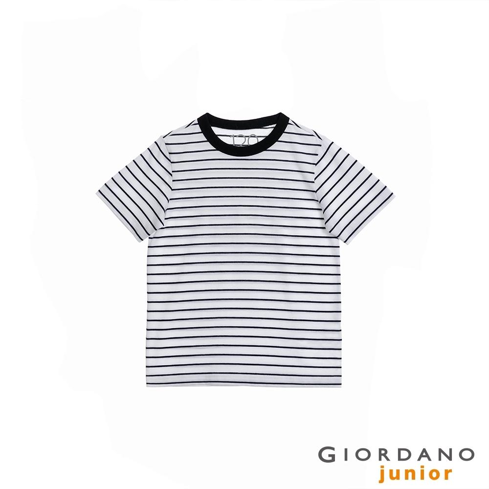 GIORDANO 童裝Greeting印花條紋T恤 - 03 白x海軍藍