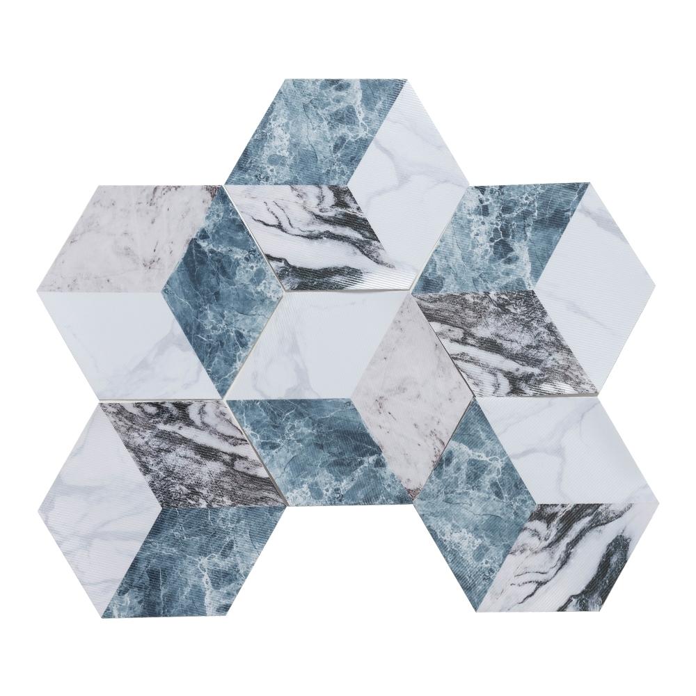 樂嫚妮 六角石紋牆壁貼紙-藍紋立體方塊-20X23cmX10片-防水即撕即貼