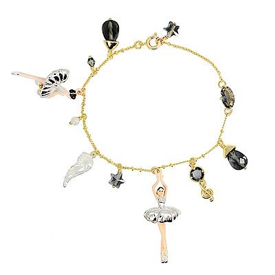 Les Nereides 優雅芭蕾舞女孩系列 銀色蓬蓬裙芭蕾舞者金色手鍊手環