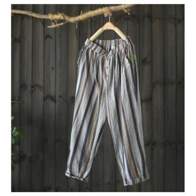 彩色條紋棉麻休閒褲寬鬆鬆緊腰九分直筒-設計所在