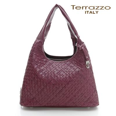 義大利Terrazzo - 手工編織菱格紋雙層側拉鍊羊皮包-棗紅色 23G1171E10