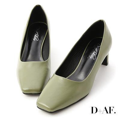 D+AF 秋日聚焦.素面方頭扁跟中跟鞋*綠