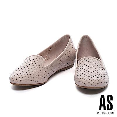 平底鞋 AS 經典氣質幾何冲孔羊皮平底鞋-粉