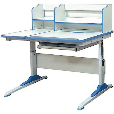 綠活居 米特多功能4尺可調式兒童書桌(二色+置物書架)-120x60x56cm免組