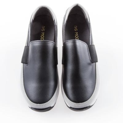 Camille's 韓國空運-正韓製-鬆緊寬帶拼接懶人休閒厚底鞋-黑色