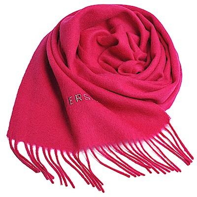 VERSACE 義大利製凡賽斯品牌字母LOGO刺 繡高質感羊毛圍巾(桃紅色)