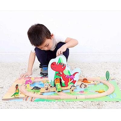 台灣 KCfriends 木製軌道車玩具-恐龍王國火車組