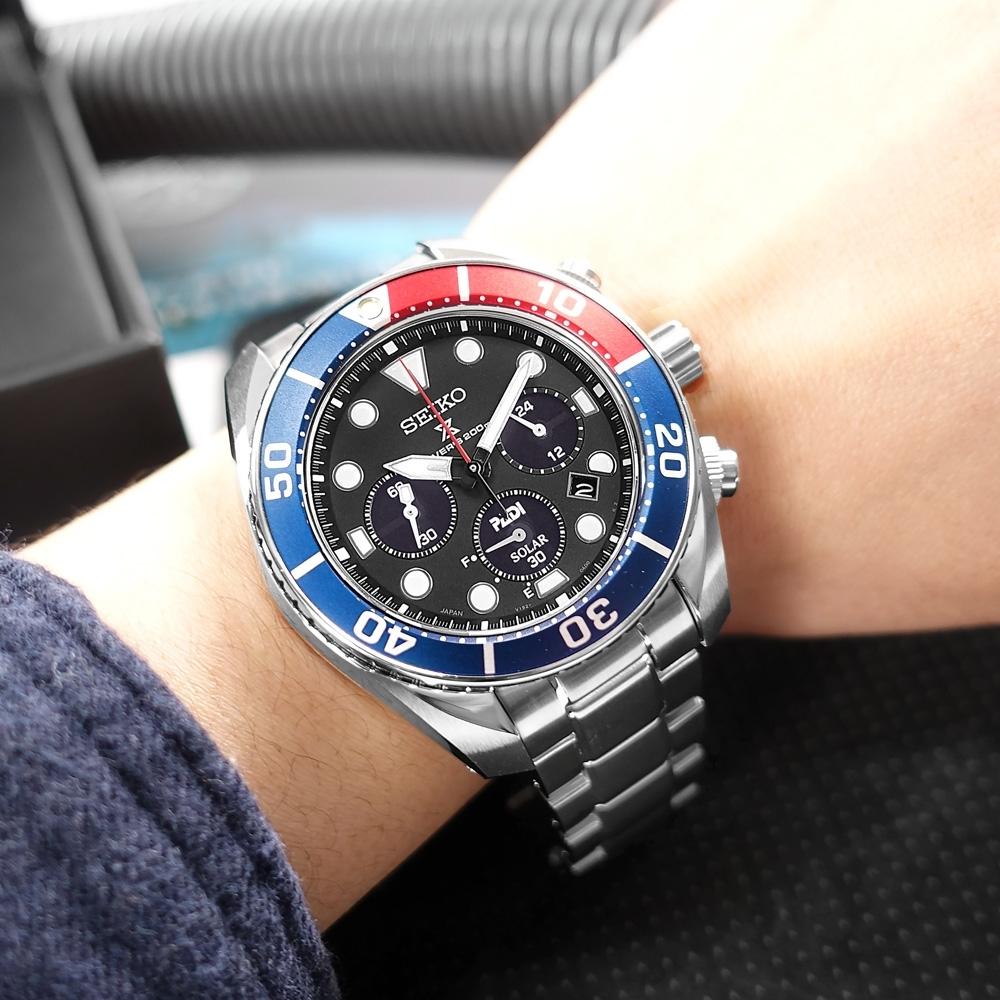 SEIKO 精工 PROSPEX DIVER SCUBA 太陽能 潛水錶 防水200米 不鏽鋼手錶-黑色/44mm