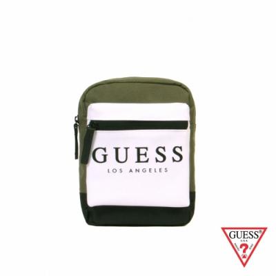 GUESS-男包-時尚撞色經典LOGO迷你斜背包-綠