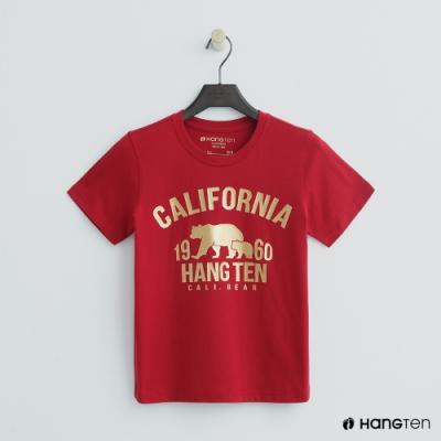 Hang Ten-童裝-有機棉-加州北極熊造型短T-紅