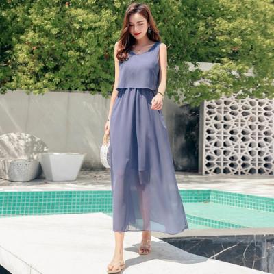 La Belleza優雅渡假風雙條單肩帶前胸荷葉一片遮肚縮腰雪紡背心洋裝