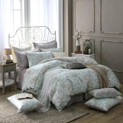鴻宇 100%精梳棉 克莉斯朵 藍 雙人七件式兩用被床罩組