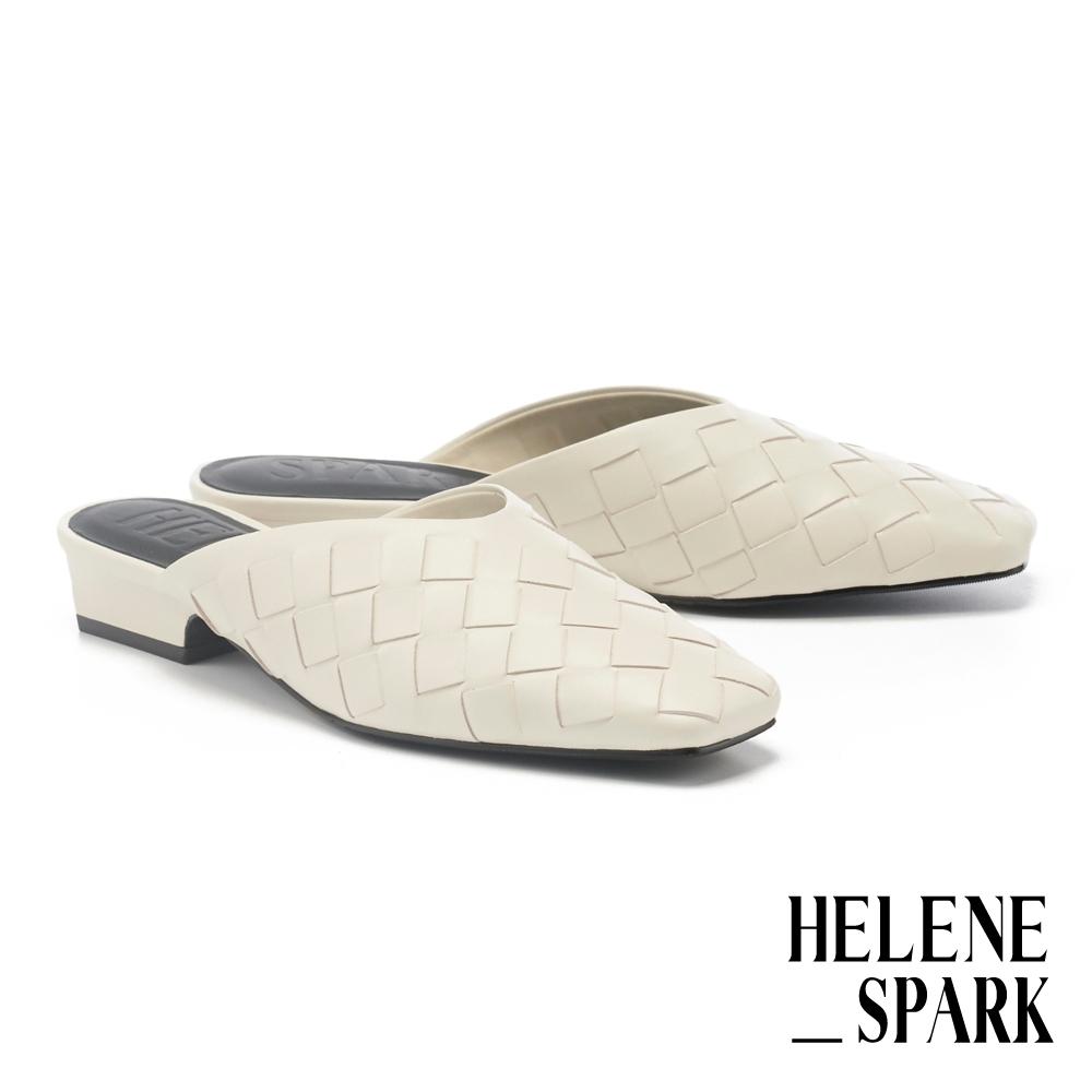穆勒鞋 HELENE SPARK 自然量感編織羊皮方頭低跟穆勒拖鞋-白
