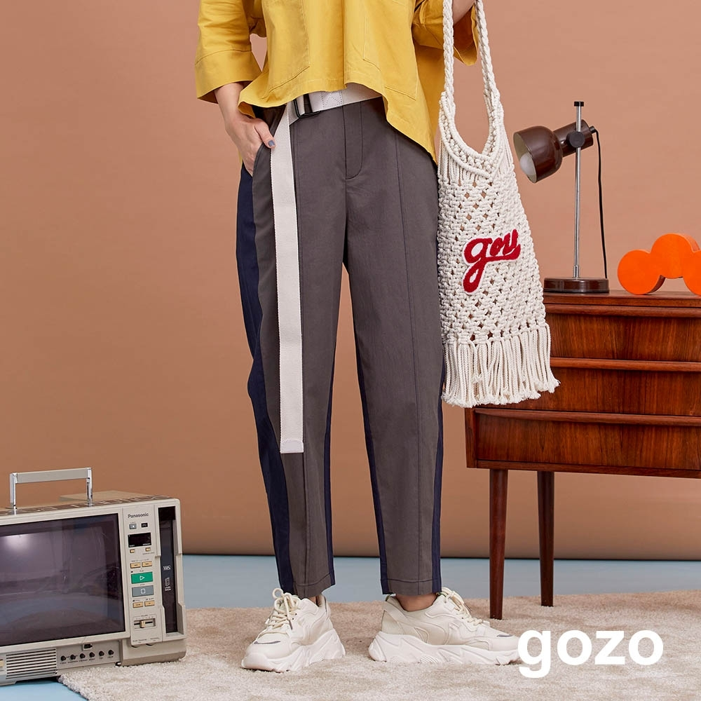 gozo-0卡路里標側拼接直筒褲(三色)