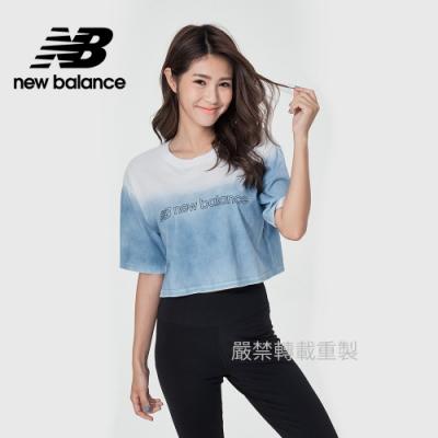 【New Balance】漸層短版短袖T_女性_淺藍_WT11536STL