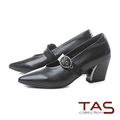 TAS鱷魚紋大圓扣繫帶金屬尖頭粗跟鞋-迷人黑