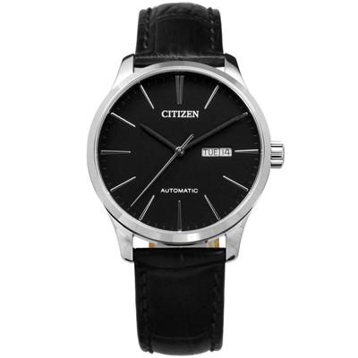 CITIZEN 星辰表 日期星期日本機芯自動上鍊機械錶真皮-黑色/40mm