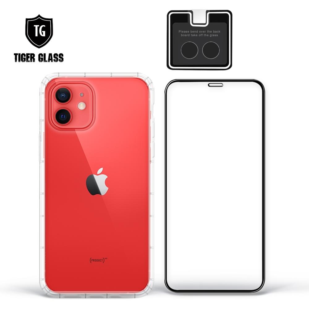 T.G iPhone 12 6.1吋手機保護超值3件組(透明空壓殼+鋼化膜+鏡頭貼)