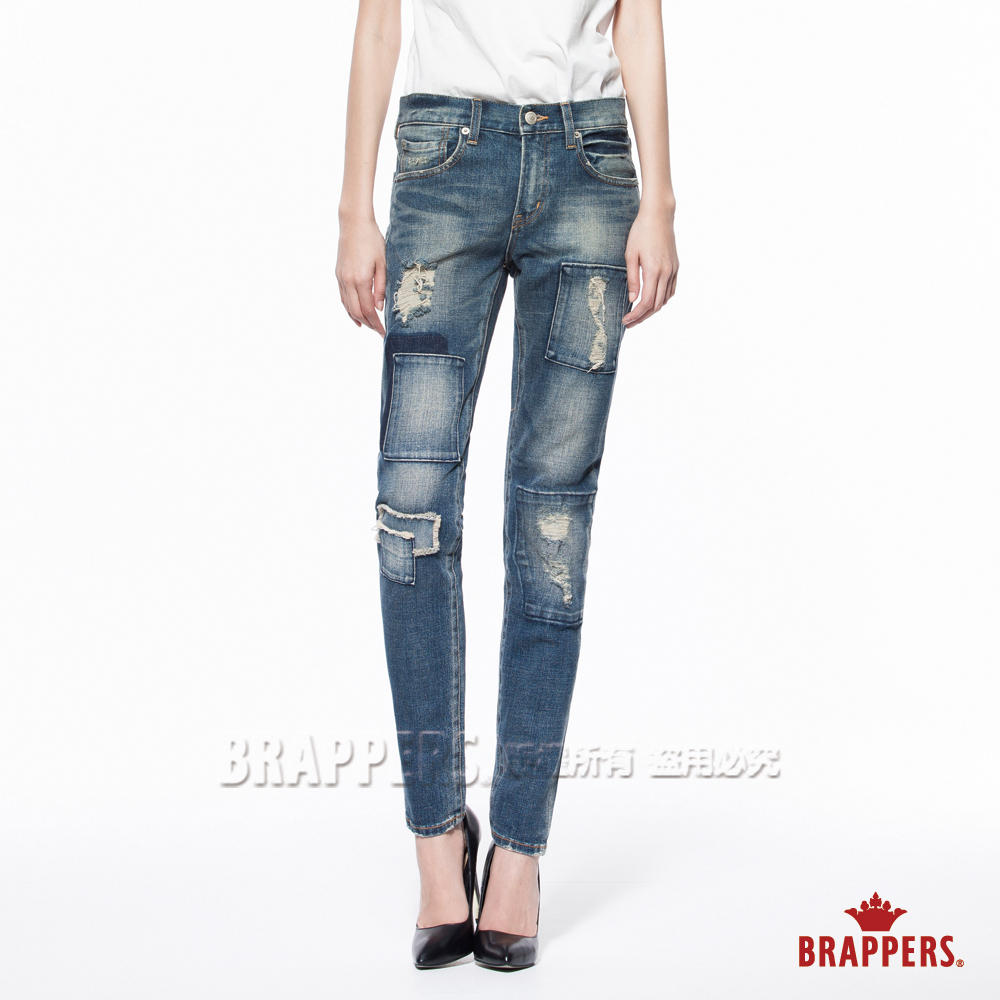 BRAPPERS 女款 Boy Friend Jeans系列-中低腰彈性窄管褲-深藍