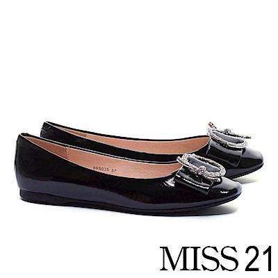 平底鞋 MISS 21 細緻典雅奢華晶鑽圓飾釦全真皮平底鞋-黑