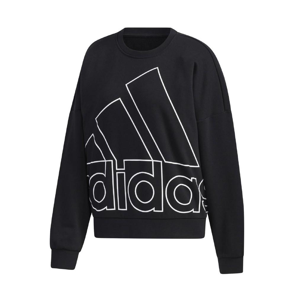adidas 大學T Graphic Sweatshirt 女款 愛迪達 大LOGO 圓領 棉質 基本款 黑 白 GK0614